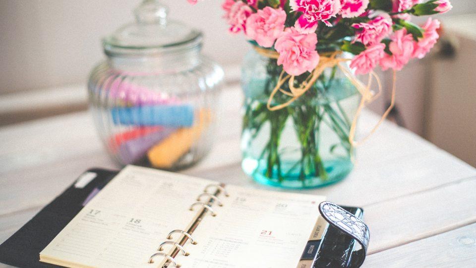 flowers desk office vintage